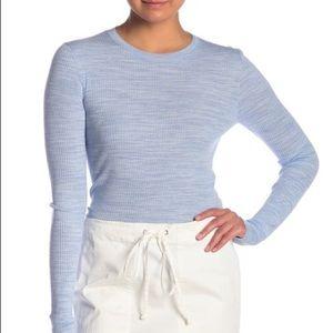 Theory Mirzi Refined Wool Long Sleeve Blue Sweater